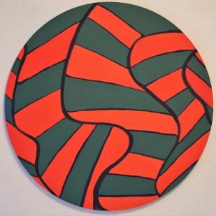 "Green and Orange Herringbone Circle Painting Oil on Canvas 20"" x 20"""