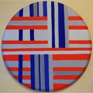 """Large Blue and Orange Circle Painting Oil on Canvas 30"""" x 30"""""""