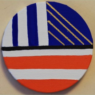 """Little blue and orange Circle Painting Oil on Canvas 5"""" x 5"""""""