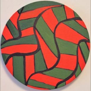 "Little herringbone Circle Painting Oil on Canvas 8"" x 8"""