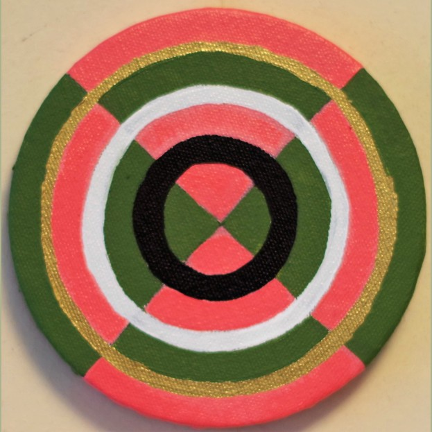 "Little target Circle Painting Oil on Canvas 5"" x 5"""