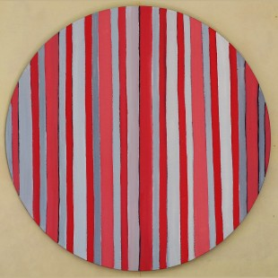 """Pink stripes Circle Painting Oil on Canvas 20"""" x 20"""""""