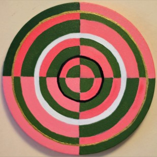 """Pink and Green Target Circle Painting Oil on Canvas 8"""" x 8"""""""