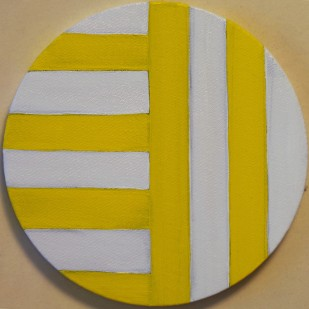"""Yellow and white Circle Painting Oil on Canvas 8"""" x 8"""""""